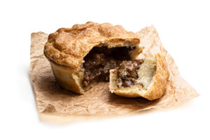 Pastry steak pie on GVP paper, ready to eat